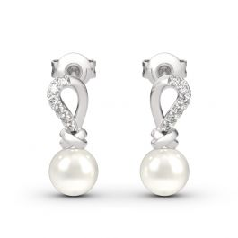 Jeulia Knot Cultured Pearl Sterling Silver Earrings