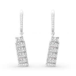 Jeulia Leaning Tower of Pisa Inspired Sterling Silver Earrings