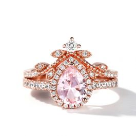 Jeulia Halo Pear Cut Synthetic Morganite Sterling Silver Ring Set