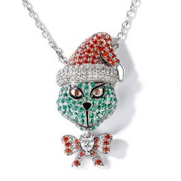 """Jeulia """"Holiday Cheermeister"""" Christmas Monster Inspired Sterling Silver Necklace"""