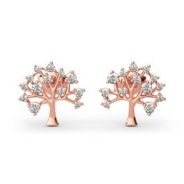 """Jeulia """"Tree of Life"""" Round Cut Sterling Silver Earrings"""