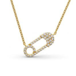 Jeulia Safety Pin Design Pendant Sterling Silver Necklace