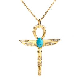 """Jeulia """"Ankh"""" Ancient Egyptian Scepter Turquoise Pendant Sterling Silver Necklace"""