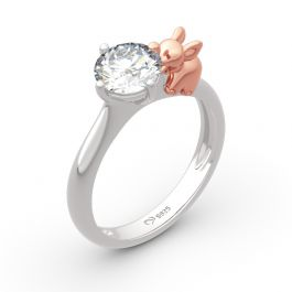 "Jeulia ""Lucky Elephant"" Round Cut Sterling Silver Ring"