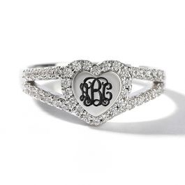 Jeulia Halo Heart Monogram Personalized Sterling Silver Ring
