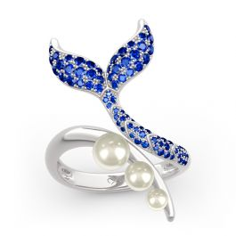 """Jeulia """"Dancing by the Moonlight"""" Mermaid Tail Faux Pearl Sterling Silver Ring"""