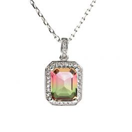 """Jeulia """"One of a Kind"""" Emerald Cut Sterling Silver Watermelon Necklace"""