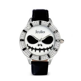 "Jeulia ""King of Halloween Town"" Skull Design Quartz Black Leather Watch with Mother-of-Pearl Dial"