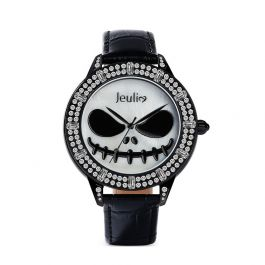 "Jeulia ""Master of Fright"" Skull Design Quartz Black Leather Watch with Mother-of-Pearl Dial"