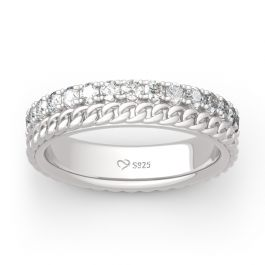Jeulia Chain Design Round Cut Sterling Silver Women's Band