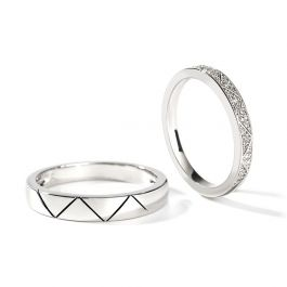"""Jeulia """"I Love You More Than Once"""" Sterling Silver Couple Rings"""