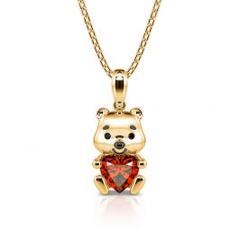 """Jeulia Hug Me """"Much-loved Bear"""" Heart Cut Sterling Silver Necklace"""