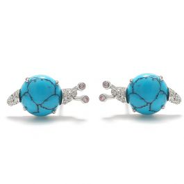 """Jeulia """"Natural Beauty"""" Snail Turquoise Design Sterling Silver Earrings"""