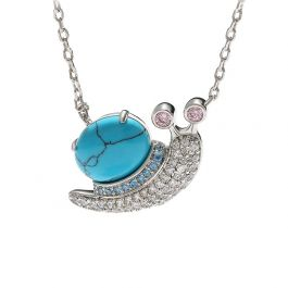 """Jeulia """"Natuaral Beauty"""" Snail Turquoise Design Sterling Silver Necklace"""