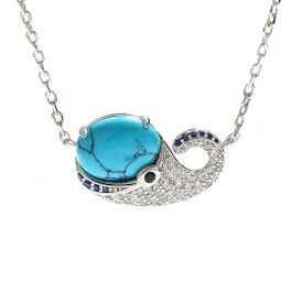 """Jeulia """"Tiny Whale"""" Turquoise Design Sterling Silver Necklace"""