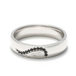 Jeulia Angel Wing Creative Engraved Sterling Silver Men's Band