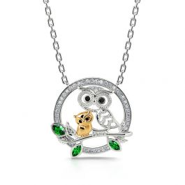 """Jeulia """"Always by My Side"""" Mother and Baby Cute Owls Round Sterling Silver Necklace"""