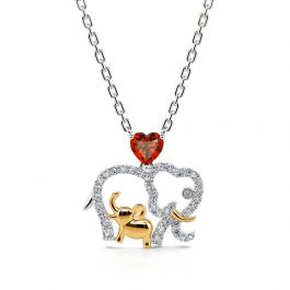 """Jeulia """"Accompany with You Forever"""" Lucky Elephant Mom and Baby Sterling Silver Necklace"""