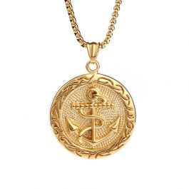 Jeulia Anchor Tag Pendant Stainless Steel Men's Necklace