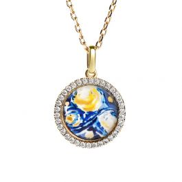 """Jeulia """"Quiet Moment"""" The Starry Night Inspired Sterling Silver Necklace"""