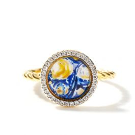 """Jeulia """"Quiet Moment"""" The Starry Night Inspired Sterling Silver Ring"""