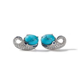 """Jeulia """"Swim with Whales"""" Tiny Ocean Whale Turquoise Sterling Silver Stud Earrings"""