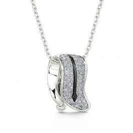 """Jeulia """"Persistence of Memory"""" Inspired Timepiece Sterling Silver Necklace"""