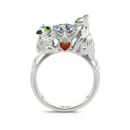"""Jeulia Hug Me """"Love, Care, and Wisdom"""" Dragon Round Cut Sterling Silver Ring"""