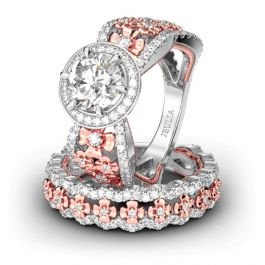 Jeulia Floral Halo Round Cut Sterling Silver Ring Set