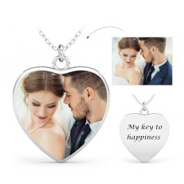Jeulia Heart Engraved Personalized Sterling Silver Photo Necklace