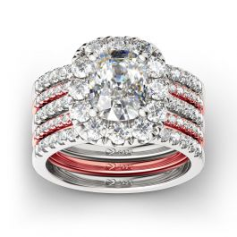 Jeulia Two Tone Halo Sterling Silver Ring Set