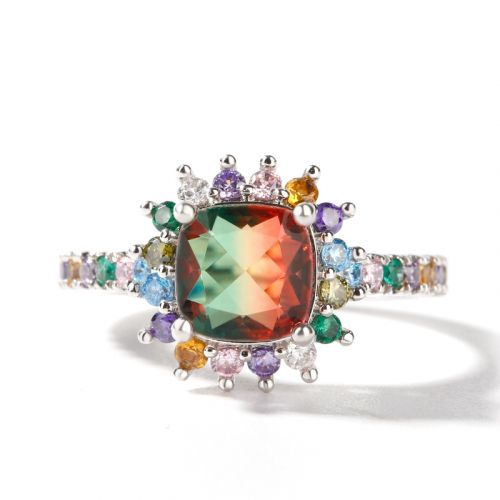 "Jeulia ""Blazing with Color"" Cushion Cut Sterling Silver Ring"