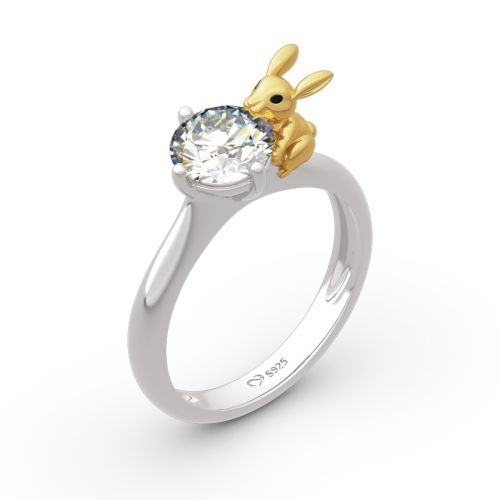 "Jeulia Hug Me ""Nature's Favor"" Rabbit Round Cut Sterling Silver Ring"
