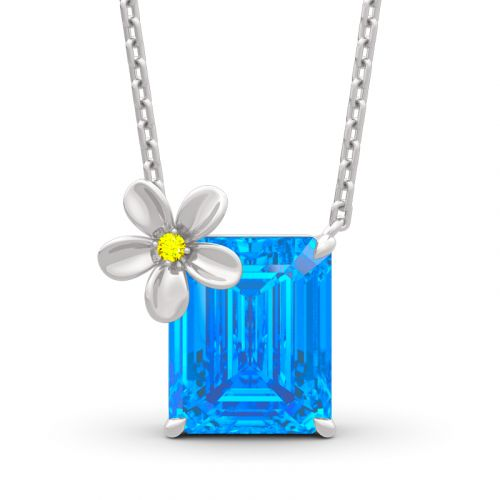 "Jeulia ""Fragrant Flower"" Emerald Cut Sterling Silver Necklace"