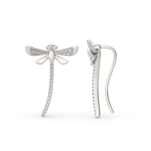 "Jeulia ""Life & Vitality"" Dragonfly Sterling Silver Climber Earrings"