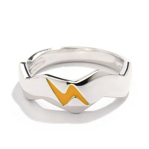 "Jeulia ""I Choose You"" Lightning Design Sterling Silver Band"