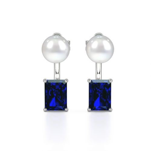 Jeulia Elegant Emerald Cut Cultured Pearl Sterling Silver Earrings
