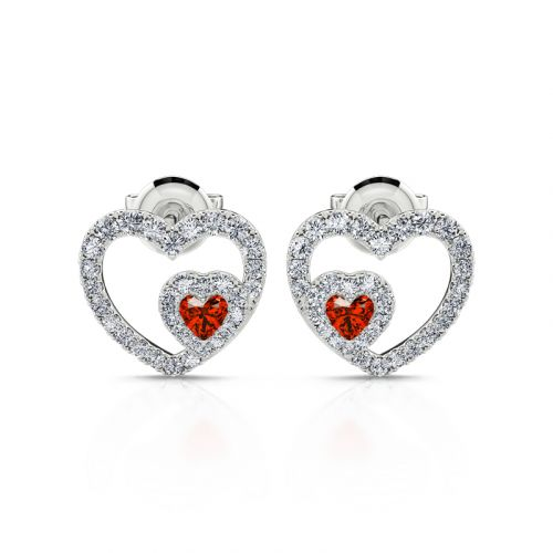 "Jeulia ""Brilliance Love"" Heart Cut Sterling Silver Stud Earrings"