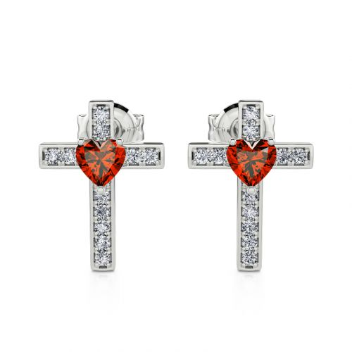 "Jeulia ""Faith & Love"" Heart Design Cross Sterling Silver Earrings"