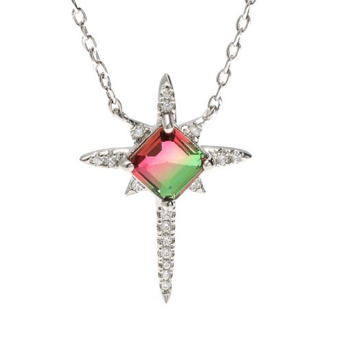 "Jeulia ""Endless Light "" North Star Princess Cut Watermelon Sterling Silver Necklace"