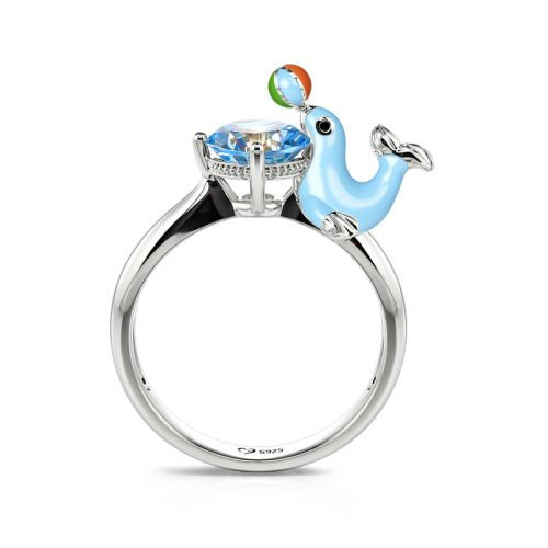 """Jeulia Hug Me """"Naughty Seal"""" Round Cut Sterling Silver Ring"""