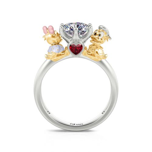 """Jeulia Hug Me """"Adorable Duck Couple"""" Round Cut Sterling Silver Ring"""