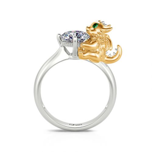 """Jeulia Hug Me """"Unrivalled Power"""" Dragon Round Cut Sterling Silver Ring"""