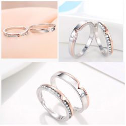 Jeulia Two Tone Heart Sterling Silver Couple Rings