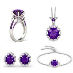 Jeulia Amethyst Flower Round Cut Sterling Silver Jewelry Set