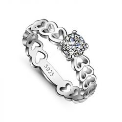 Jeulia Round Cut Sterling Silver Women's Ring
