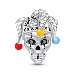 """Clown Skull"" Skull With Clown Hat Sterling Silver Charm"