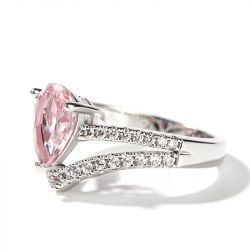 Jeulia Pear Cut Synthetic Morganite Sterling Silver Ring