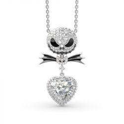 "Jeulia ""Bat Bow Tie"" Skull Heart Cut Sterling Silver Necklace"