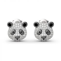 "Jeulia ""Be Calm and Steady"" Cute Panda Sterling Silver Earrings"